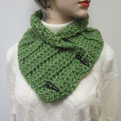 Avocado Green Chunky Scarf, Fall Chunky Scarves, Kini Scarves, Fall Womans Scarves, Winter Chunky Scarves, Crochet Scarf, Fabiana B1-014 by CeciliaAnnDesigns on Etsy