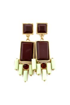 Delphine Earrings in Chocolate and Warm Mint