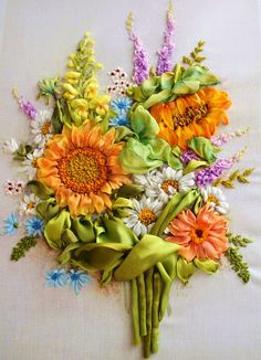 *RIBBON ART ~ embroidery flowers sunflowers