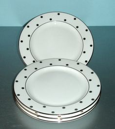 Kate Spade Larabee Road Platinum Dot Plate Set of 4 Bread Butter Tidit Party New | eBay