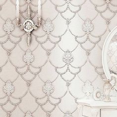 Blooming Wall: Non-woven Elegant European Flocking Embossed Damask Textured Lace Pattern Wall Mural Wallpaper for Living Room Bedroom, Sq.ft,off White Wall Wallpaper, Pattern Wallpaper, Living Room Bedroom, Paper Wallpaper, Glam Room, Mural Wallpaper, Wallpaper Living Room, Wall Patterns, Textured Wallpaper