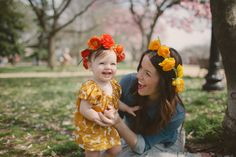 Getting outside with the kids to make flower crowns. (what a cutie!)