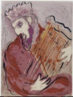DAVID  with his HARP. Marc Chagall (1956) Pintor francés de origen bielorruso (1887-1985).  Algunos de sus trabajos más importantes son La aldea y yo (1911), El violinista verde (1923-1924, Museo Guggenheim, Nueva York),