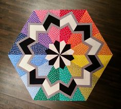 Modern, colorful, beautiful paper pieced quilt block  xxx
