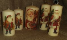 Yet more Santas! A few of my decorated Santa candles for 2015. See more of my napkin decoupage work on www.facebook.com/... and in my Folksy shop folksy.com/shops/YourLovelyHome