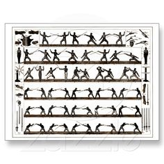 Vintage Fencing Instruction Postcard from Zazzle.com