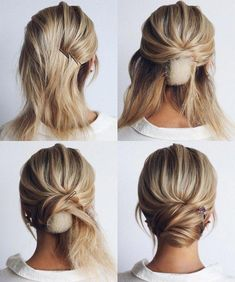 This elegant hairstyle is also suitable for wedding.Low bun wedding hair can match your wedding dress. Bridal hair updo, high updo, short hair updo or bridesmaid hair updo is perfert for wedding hairstyles updo. Save this Easy And Hair Tutorials Dutch bra Medium Length Hairstyles, Braided Hairstyles, Medium Length Updo, Gorgeous Hairstyles, Shoulder Length Updo, Medium Length Bridal Hair, Hairstyles Men, School Hairstyles, Retro Hairstyles
