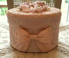 Etsy - Shop for handmade, vintage, custom, and unique gifts for everyone Shabby Chic Boxes, Shabby Chic Crafts, Fabric Covered Boxes, Fabric Boxes, Boxes And Bows, Hat Boxes, Altered Cigar Boxes, Fabric Basket Tutorial, Lace Art