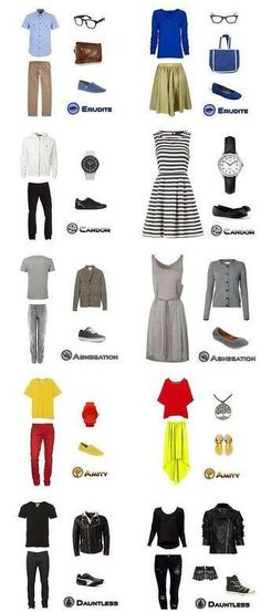 Faction outfits. Despite the yellow, I would be Amity- Divergent #Happy #Peace