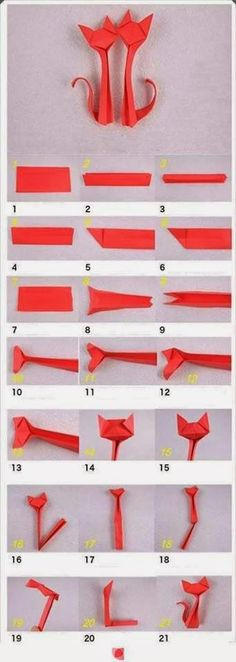 Origami is the traditional Japanese art of paper folding, which transforms a flat sheet of paper into a finished sculpture through folding and sculpting techniques. Here is a nice tutorial on how… Diy Origami, Gato Origami, Origami And Kirigami, Useful Origami, Paper Crafts Origami, Diy Paper, Paper Crafting, Dollar Origami, Oragami