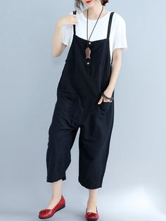 O-NEWE O-NEWE Mono de color puro con tirantes y bolsillos con cierre de  botones para mujeres es moderno ed93106f74a