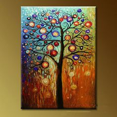 Pintado a mano aceite de cuadros Pachira macrocarpa con marco estirado de madera