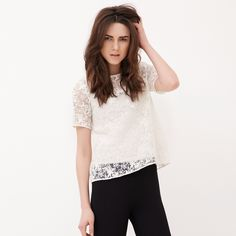 Perspective Pierced Loose Chiffon Lace Short-sleeved Blouse