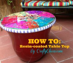 DIY Mexican Calendar Girl Resin-Coated Table Top (w/a flower pot base)! Recycled Crafts, Resin Crafts, Resin Table Top, Home Crafts, Diy Crafts, Plastic Flower Pots, Plastic Tables, Resin Coating, Calendar Girls
