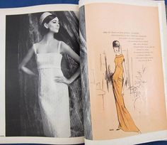 Vogue Paris Original 1476 by Nina Ricci (on the left page) and Vogue Couturier Design 1452 by Galitzine featured in Vogue Pattern Book, April/May 1965