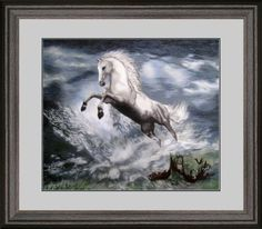 Www  King Silk Art 100% Handmade Embroidery Large Framed White Horse in Surf Chinese Print Wildlife Animal Painting Gift Oriental Asian Wall Art Décor Artwork Hanging Picture Gallery 74106