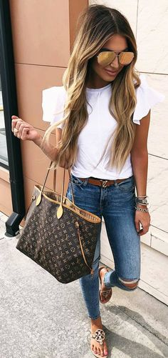 #spring #outfits white top , ripped jeans, sandals