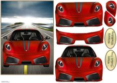 A red sports car roaring down the highway. Decoupage the car, Great for Father's Day and birthdays. Birthday Verses For Cards, Birthday Cards, Office Uk, Red Sports Car, Old Fords, Printable Crafts, Card Designs, Happy Fathers Day, Cards