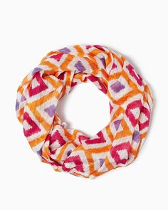 charming charlie | Colorful Ikat Scarf | UPC: 410007305327 Tangerine, Orange, COTM