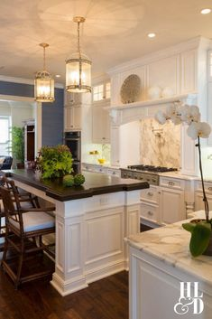 Classic White Kitchen Design, Carrera Marble, Sharp, Bosch, Thermador