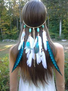 Turquoise Princess - Feather headband, native american, indian headband, hippie headband, bohemian headband, wedding veil, feather veil by dieselboutique on Etsy #NativeAmericanJewelry