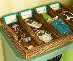 I love this for organizing in the entry! Great idea!