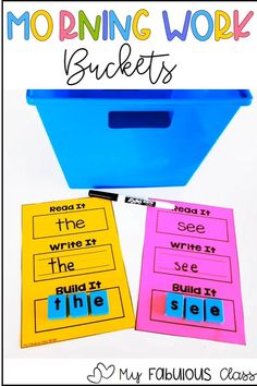 Morning Work Buckets for Kindergarten and 1st Grade Hands on Learning Morning Work Buckets