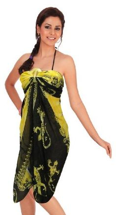 313ce463cc077 $12 La Leela Allover Lizard Printed Swim Hawaiian Sarong Cover up  YellowFrom La Leela $12 Chiffon