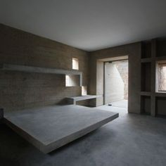Pachacamac House: Location: Pachacamac, Peru Year of Construction: 2008 Architects: Longhi Architects Set into the hillside, this incredible home uses locally sourced materials including stone to form the structure and dynamic spaces. Concrete Bedroom, Concrete Interiors, Concrete Furniture, Living Furniture, Home Furniture, Home Building Design, Home Room Design, House Design, Bedroom Wall