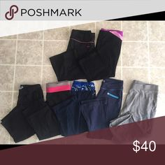 Various Brands Workout Capris Bundle Great condition, non-smoking home. Top row are larges that fit like mediums...bottom row are mediums that fit true to size. Various Pants Track Pants & Joggers