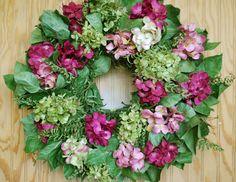 Hydrangea wreath with faux paper hydrangea and lemon leaf