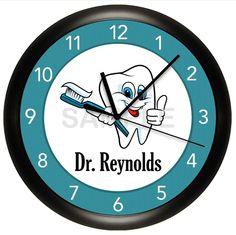 DENTIST OFFICE WALL CLOCK PERSONALIZED GIFT DOCTOR HYGIENIST DENTAL TEETH BRUSH