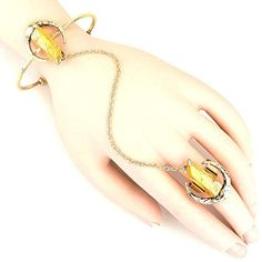 Metallic Stone Hand Chain Bracelet / Hand Chain / AZFJSBB124-GGL  Price : $30.00 http://www.arrascreations.com/Metallic-Stone-Chain-Bracelet-AZFJSBB124-GGL/dp/B00RMGDV38