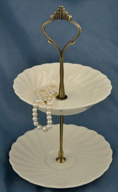 Tiered+Server+2+Tier+Jewelry+Stand+White+Tidbit+by+SimplyChina