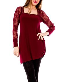 Look at this #zulilyfind! Burgundy Floral-Sleeve Asymmetrical Tunic - Plus by La Mouette #zulilyfinds