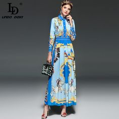 Find More Dresses Information about LD LINDA DELLA New 2018 Fashion Runway Maxi Dress Women's Long sleeve Retro Pattern Printed Casual Long Dress High Quality,High Quality runway maxi dress,China maxi dress women Suppliers, Cheap maxi dress from LD LINDA DELLA Official Store on Aliexpress.com