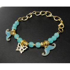 Pulsera de Moda con Perla Cristal y Mostachos - 9 Colores
