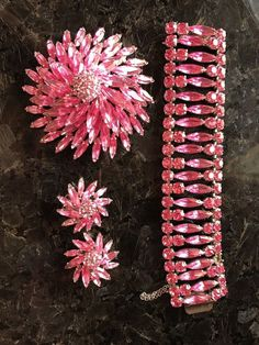 VINTAGE SIGNED SHERMAN Stunning Pink Starburst BROOCH, Bracelet AND EARRINGS | Jewellery & Watches, Vintage & Antique Jewellery, Costume | eBay!