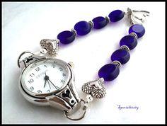 Silver Heart Watch Featuring Cobalt Blue Czech Glass Beaded Band | specialtivity - Jewelry on ArtFire