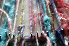 #sunnysideupmama woven scarf tutorial ; I was just given a box of spools of weaving wool and daydreamed about this very thing on my bike ride yesterday!