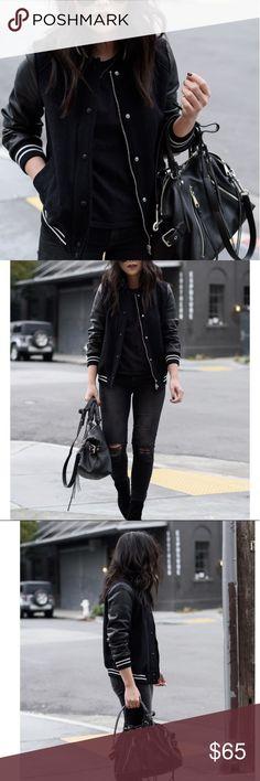 Zara Varsity Jacket - Black Zara varsity jacket. Faux leather sleeves. Great condition. Worn once. Zara Jackets & Coats