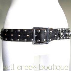 vintage ROCKER 1960s 1970s black genuine leather, heavily studded, biker, hipster, boho, western style belt.  available now at salt creek boutique on eBay!