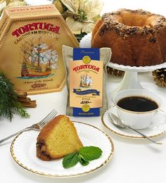 Our World Famous Tortuga Rum Cake Paired with 100% Jamaica Blue Mt. Ground Coffee.