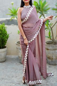 Buy Mauve Pearl Work Silk Chiffon Saree - Women Sarees Online in India Saree Jacket Designs, Sari Blouse Designs, Saree Jackets, Simple Sarees, Saree Trends, Stylish Sarees, Saree Look, Elegant Saree, Fancy Sarees