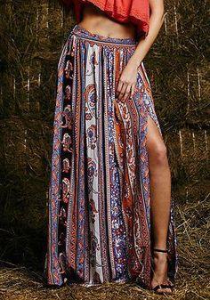 Maxi Summer Skirt Beach Long Casual Skirt Boho Tribal Floral Skirts
