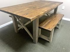 Rustic Wooden Farmhouse Table Set with Provincial Brown Top and Classic Gray Base Criss Cross Style Includes Two Benches – Farmhouse table diy Moving Furniture, Unique Furniture, Dinning Room Tables, Dining Area, Wood Tables, Kitchen Tables, Kitchen Dining, Criss Cross, Tapas