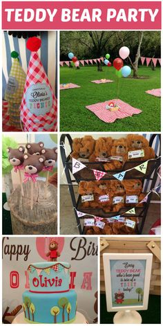 A Teddy Bear Picnic 1st birthday party with a teddy bear workshop and bear masks to color and wear! See more party planning ideas at CatchMyParty.com!