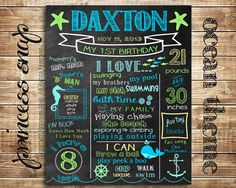 First Birthday Chalkboard - Ocean Sea Nautical Poster Sign Birthday Parties Printable  - Baby's First Birthday - Boy or Girl