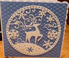 Christmas Card made using Cuttlebug polka dot embossing folder and Tattered Lace die