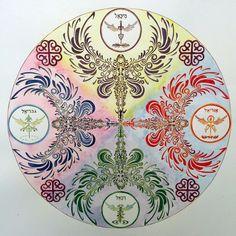 Mandala arcángeles, Holistic angel, acuarela y acrilico 60x60, Cinthya Ruiz #angels #mandala